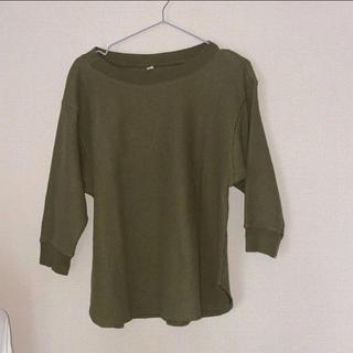 ユニクロ(UNIQLO)のユニクロ ワッフルクルーネック Tシャツ レディース(Tシャツ(長袖/七分))