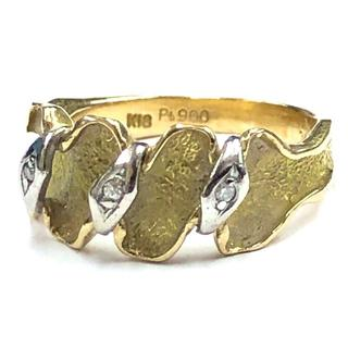 K18 ゴールド Pt900 プラチナ ダイヤモンドリング 4.5g 11号(リング(指輪))