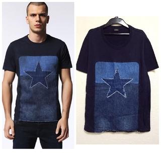 ディーゼル(DIESEL)の美品 DIESEL デニム Tシャツ星 スター パッチワーク 半袖(Tシャツ/カットソー(半袖/袖なし))