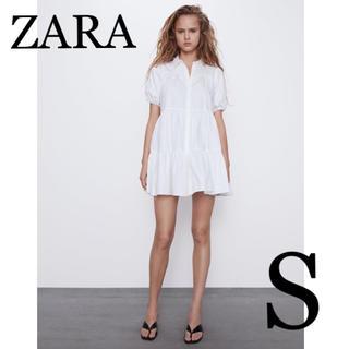 ZARA - ZARA フレアーワンピース S ティアード フリル ポプリン