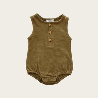 キャラメルベビー&チャイルド(Caramel baby&child )のSlub Cotton Riley Romper - Ivy (ロンパース)