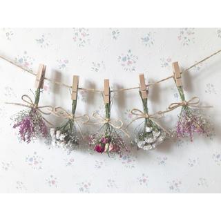 3種のピンクのバラと小さなかすみ草のパステルカラードライフラワーガーランド♡(ドライフラワー)
