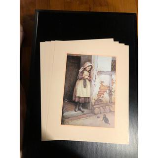 シャドーボックス ドナルドアート 編み物の女の子と猫のプリント 4枚(その他)