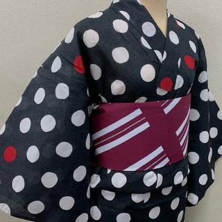 Sサイズ 限定希少品!専門店の品◆夏の浴衣 150cm前後の体格/黒・ドット(浴衣)