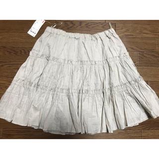 ユニクロ(UNIQLO)の新品 ユニクロ ティアードスカート ベージュ  L(ミニスカート)