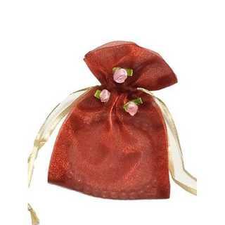オーガンジー 巾着 小物入れ お花 付き ラッピング 小物 1枚 ワインレッド(カード/レター/ラッピング)