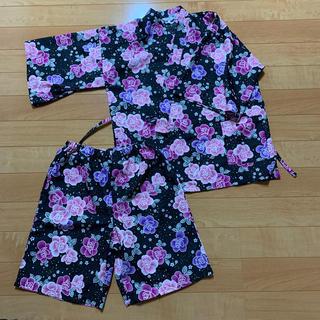 シマムラ(しまむら)の送料無料 セオリア 甚平 花柄 黒 ピンク (浴衣)