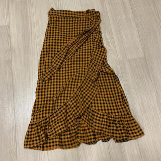 ザラ(ZARA)のZARA ザラ チェック柄巻きスカート(ひざ丈スカート)