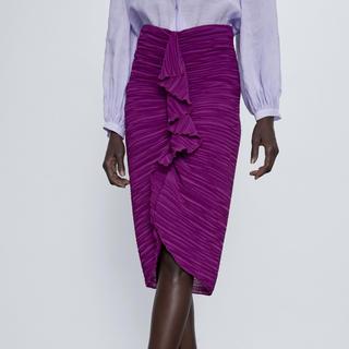 ザラ(ZARA)のZARA フリルトリム付きドレープスカート XS(ひざ丈スカート)