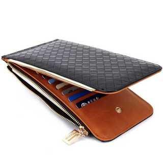 レザー 長財布 二つ折財布 カードケース 編み込み式 メンズ カード入れ 黒(折り財布)