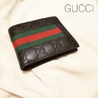 グッチ(Gucci)の二つ折り 財布 GGシグネチャー ブラック(折り財布)