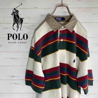 POLO RALPH LAUREN - 【激レア】半袖Tシャツ 綿100%   ワンポイント刺繍ロゴ USA製 ボーダー