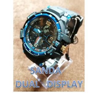 ■2020新入荷■青 デュアルディスプレイ 女性kids 防水ダイバーズウォッチ(腕時計(デジタル))