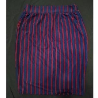 グレイル(GRL)のGRL ストライプ膝丈タイトスカート L(ひざ丈スカート)