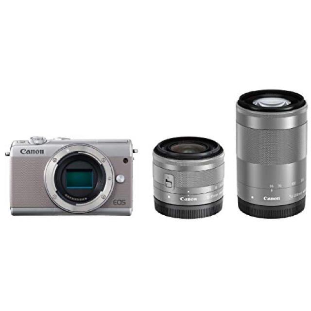 Canon(キヤノン)の新品 Canon EOS M100 Wズームキット ダブルズームキット グレー スマホ/家電/カメラのカメラ(ミラーレス一眼)の商品写真