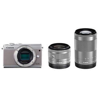 キヤノン(Canon)の新品 Canon EOS M100 Wズームキット ダブルズームキット グレー(ミラーレス一眼)