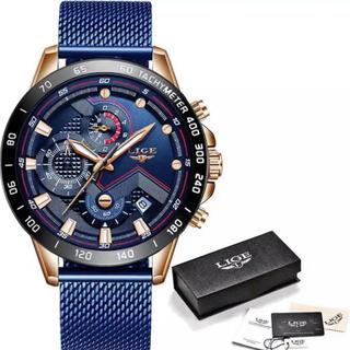 時計 腕時計 ブルー 青 ゴールド 多機能 ビジネス ゴルフ 新品 未使用(腕時計(デジタル))