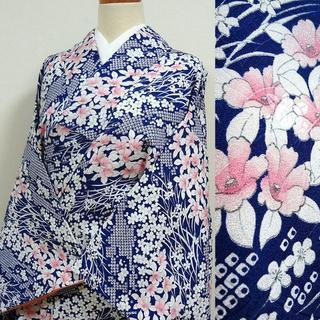 濃いブルーに疋田柄と草花 洗える小紋(着物)