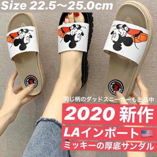 ミッキーサンダル【人気】厚底サンダル  ディズニー ミュール  ベージュ 黒(サンダル)