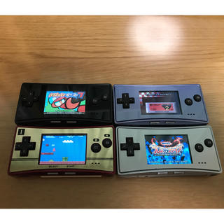 ゲームボーイアドバンス(ゲームボーイアドバンス)のゲームボーイミクロ ファミコンカラー ブルー ブラック シルバー(携帯用ゲーム機本体)