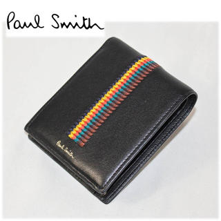 ポールスミス(Paul Smith)の《ポールスミス》新品 刺繍 マルチストライプ 二つ折り財布 黒(折り財布)