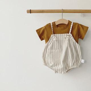 ZARA KIDS - 韓国子供服!サロペット ボンネット 2点セット ストライプ