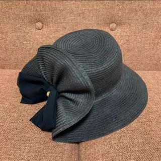 M'S GRACY - エムズグレイシー  帽子 リボン ネイビー ストローハット 麦わら帽子