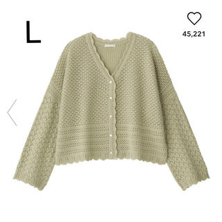 GU - GU ジーユー 透かし編みカーディガン L