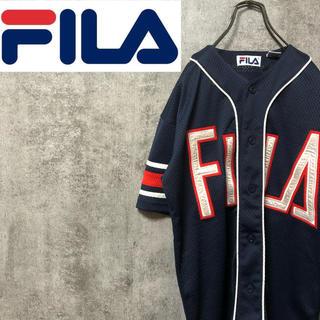 FILA - 【レア】フィラFILA♡ビッグロゴメッシュゲームベースボールシャツ 90s