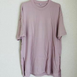 ユニクロ(UNIQLO)の美品 UNIQLO ロングTシャツ ピンク Lサイズ(Tシャツ(長袖/七分))
