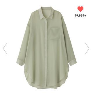 GU - GU シアーロングシャツ グリーン M