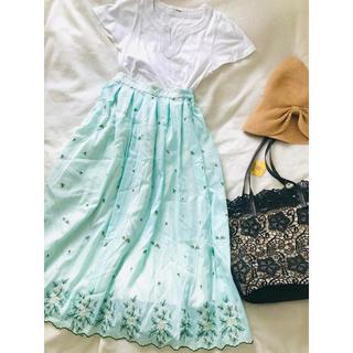 アクシーズファム(axes femme)の新品♡  axes femme ブルーグリーン 刺繍 フェミニンスカート(ロングスカート)