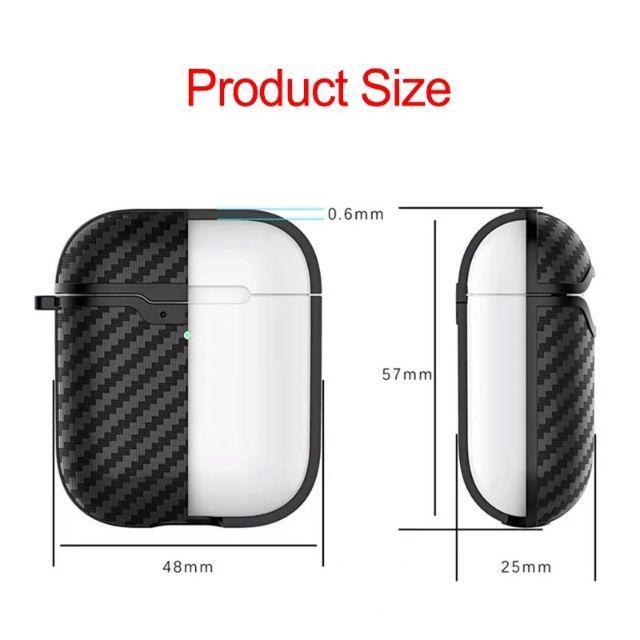 Air Pods ケース エアポッズ ブラック カーボン airpods スマホ/家電/カメラのオーディオ機器(ヘッドフォン/イヤフォン)の商品写真