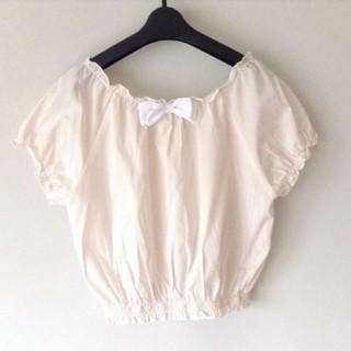 ロディスポット(LODISPOTTO)のロディスポット袖ふわストライプブラウス ピンク(シャツ/ブラウス(半袖/袖なし))