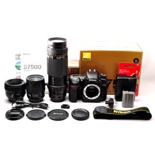 ニコン(Nikon)の❤️極上美品❤️ニコン D7500 単焦点&標準&超望遠トリプルレンズセット❤️(デジタル一眼)