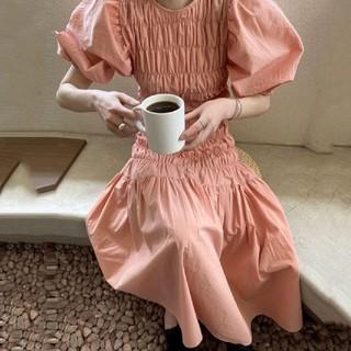 Ameri VINTAGE - SHIRRING BIGPUFFY DRESS.