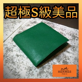 エルメス(Hermes)のエルメス HERMES グリーン MC2 ガリレイ ヴォーエプソン 二つ折り財布(折り財布)