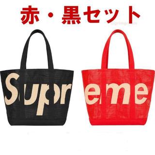 Supreme - Supreme Raffia Tote BLACK RED セット