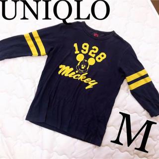ユニクロ(UNIQLO)のユニクロ レトロ ミッキー 1928    七部 ネイビー M(Tシャツ(長袖/七分))