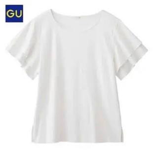 ジーユー(GU)のGU フリルカットソーT ブラック M(Tシャツ(半袖/袖なし))