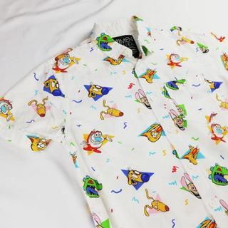 フォーエバートゥエンティーワン(FOREVER 21)のコミック調 総柄 シャツ 開襟シャツ アロハシャツ(シャツ)