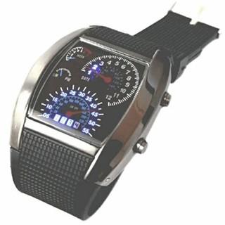 スピードメーター風青色LED 点灯本体ガンメタメンズデジタル腕時計(腕時計(デジタル))