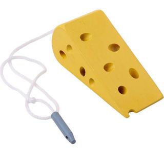 チーズ ねずみ 紐通し 指先 知育 おもちゃ モンテッソーリ 教育 木製 つまむ(知育玩具)