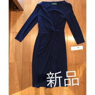 ラルフローレン(Ralph Lauren)の新品 ラルフローレン ドレスワンピース紺色 長袖(ミニワンピース)