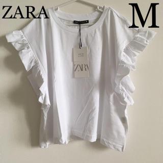 ZARA - ZARA フリル付きTシャツ M ホワイト