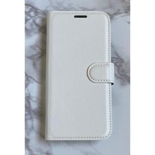 ギャラクシー(Galaxy)のシンプルレザー手帳型ケースGalaxyS9Plus  ホワイト 白(Androidケース)