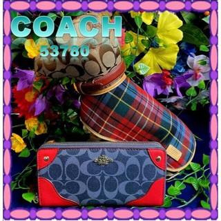 コーチ(COACH)のCOACH 財布 長財布 F53780 デニム×クラシックレッド (長財布)
