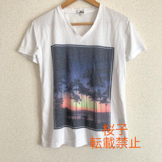サンセット Vネック Tシャツ パームツリー ヤシの木 夕焼け 夏 リゾート(Tシャツ(半袖/袖なし))
