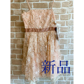 新品 オーガンジー ミニドレス ワンピース 総刺繍 サーモンベージュ 人気(ミニワンピース)