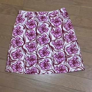 インタープラネット(INTERPLANET)のピンク花柄 ミニスカート(ミニスカート)